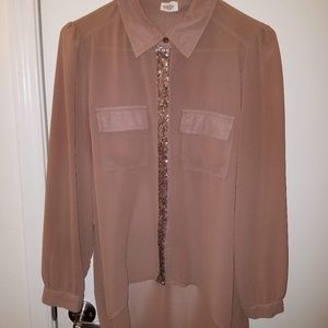 Tobi Button Down Sequin Accented Blouse